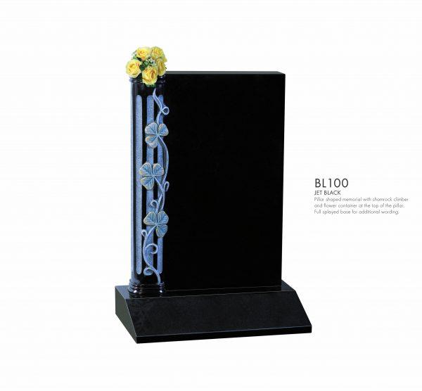 BELLE LAPIDI - Carved shamrock & pillar memorial - BL100