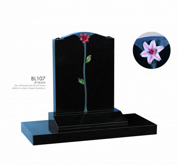 BELLE LAPIDI - Bronze lily & leaves Memorial - BL107