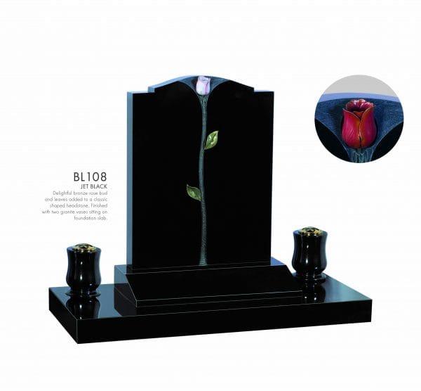 BELLE LAPIDI - Bronze rose bud memorial - BL108