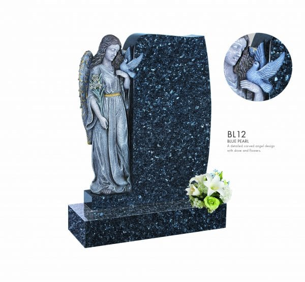 BELLE LAPIDI Carved Angel & Dove Memorial - BL12