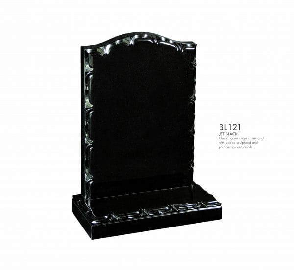 BELLE LAPIDI - Classic shaped memorial with added sculptured & polished curved detail
