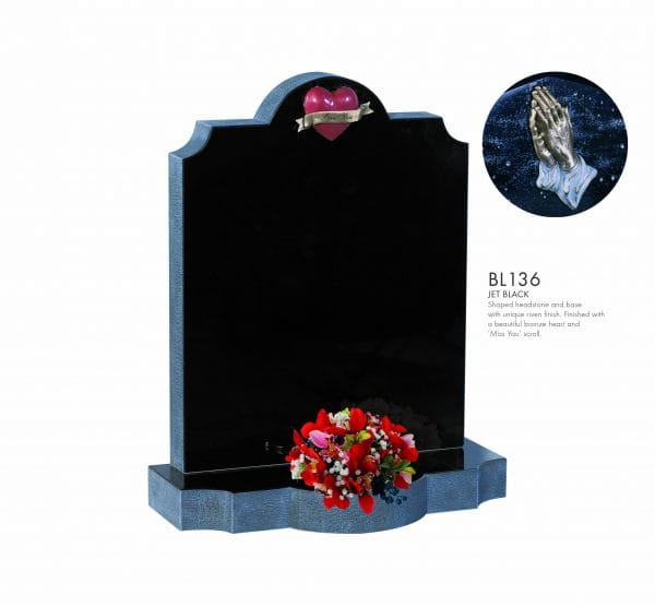 BELLE LAPIDI - Shaped memorial with bronze heart & scroll - BL136