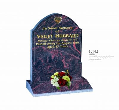 BELLE LAPIDI - Shaped memorial with gold heart - BL145