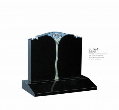 BELLEL LAPIDI - Carved rose & stem memorial - BL164