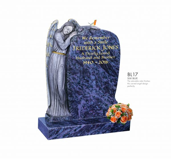 BELLE LAPIDI Carved Angel Memorial with Robin - BL17