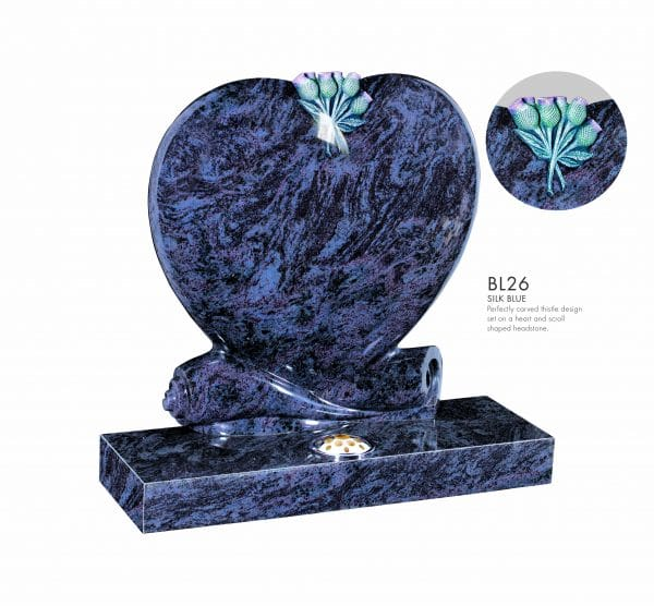 BELLE LAPIDI - Heart & scroll memorial with carved thistle - BL26