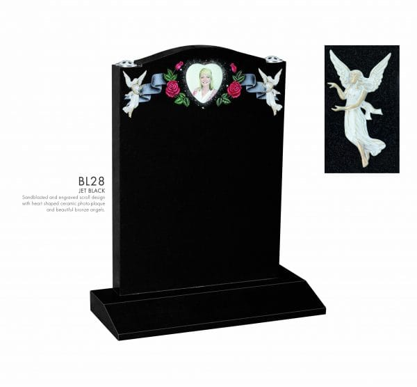 BELLE LAPIDI - Scroll, angel and heart plaque memorial - BL28