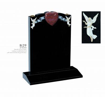 BELLE LAPIDI - Scroll, angel and granite heart memorial - BL29