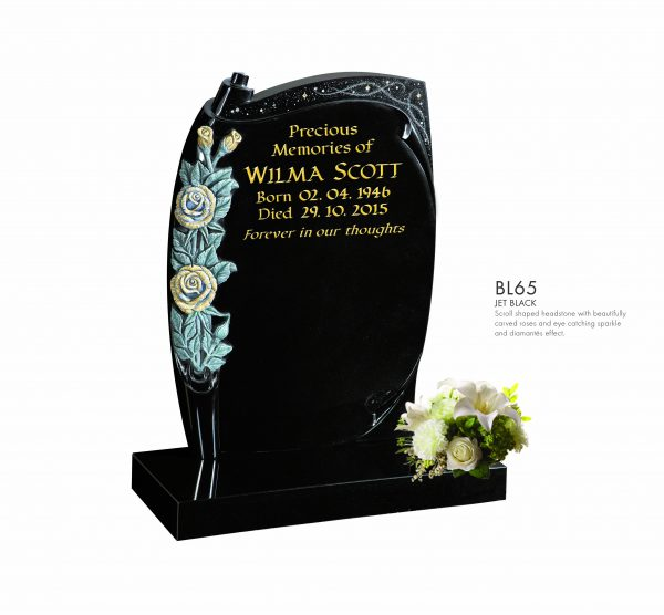 BELLE LAPIDI - Scroll shapes memorial with carved roses & sparkle effect - BL65