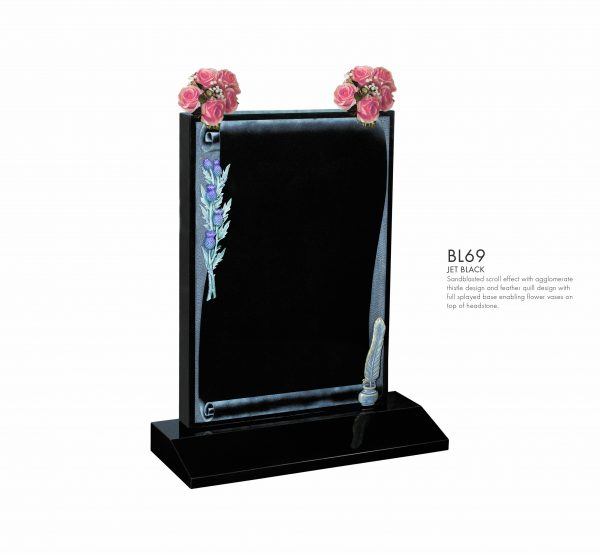 BELLE LAPIDI - Scroll effect memorial with thistle & feather quill