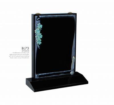 BELLE LAPIDI - Scroll effect memorial with shamrocks & feather quill