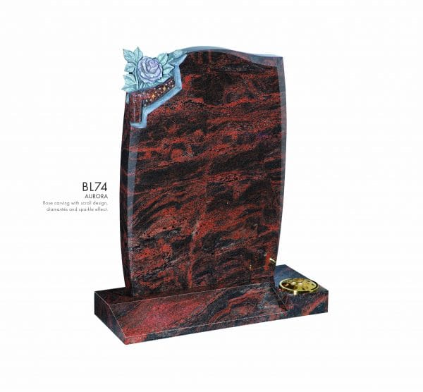 BELLE LAPIDI - Rose carving with scroll design memorial - BL74