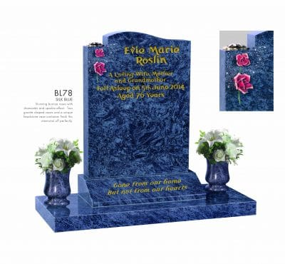 BELLE LAPIDI - Shaped memorial with roses & sparkle effect - BL78