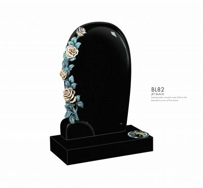 BELLE LAPIDI - Curved memorial with carved roses - BL82