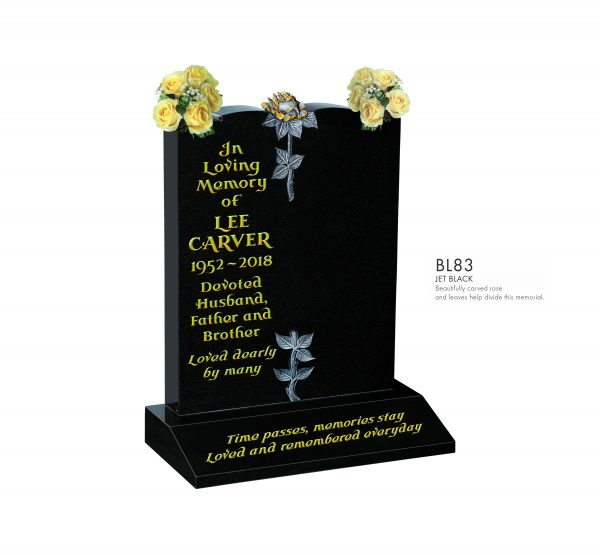 BELLE LAPIDI - Carved rose divide memorial - BL83