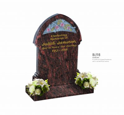 BELLE LAPIDI - Shaped headstone with carved floral section - BL98