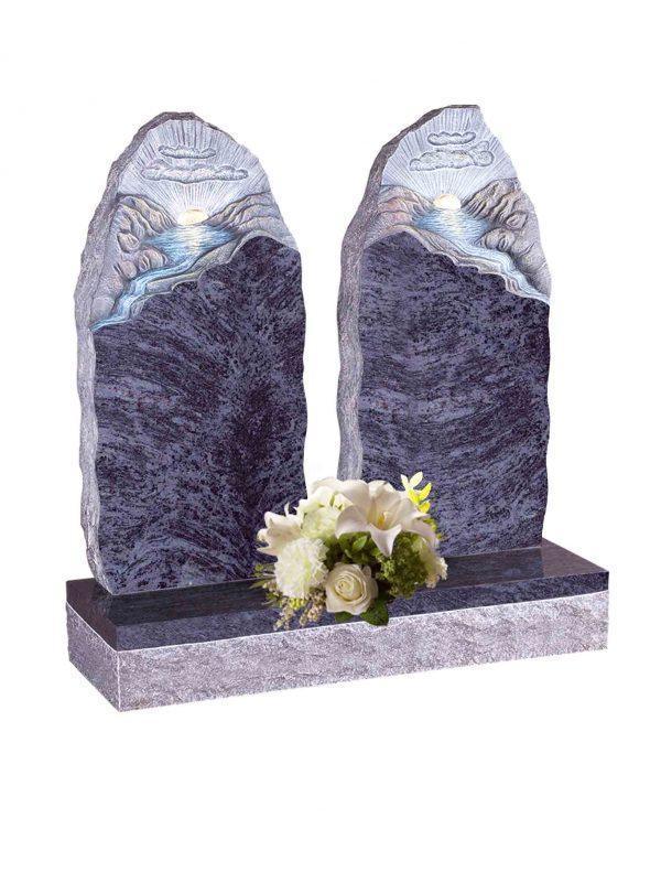 Evermore Carved Mountain Scene Split Memorial - TEC 121