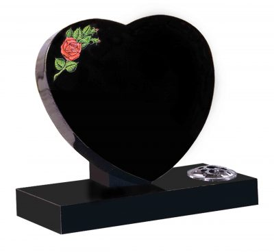 Evermore Heart with Rose Cremation Memorial - TEC 138
