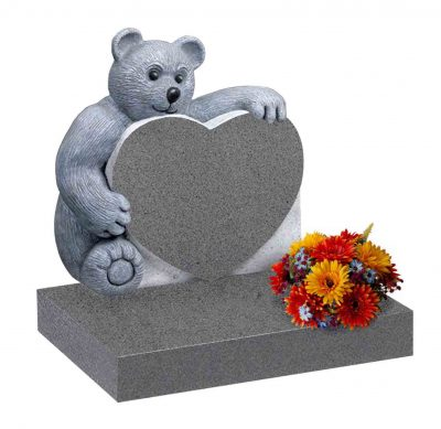 Evermore Carved Sitting Teddy Bear Memorial - TEC 153