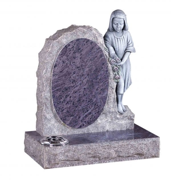 Evermore Oval with Carved Girl Memorial - TEC 156