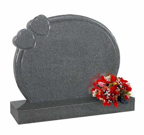 Evermore Round Memorial with Twin Heart - TEC 48
