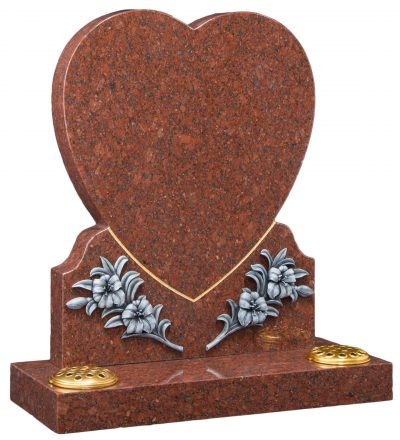 COTSWOLD - Heart & carved flowers memorial - 16110