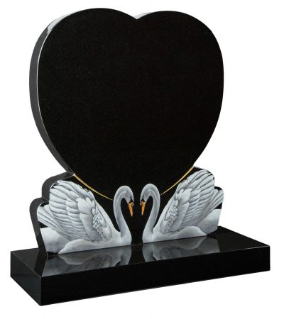 COTSWOLD - Heart memorial with swans - 16113
