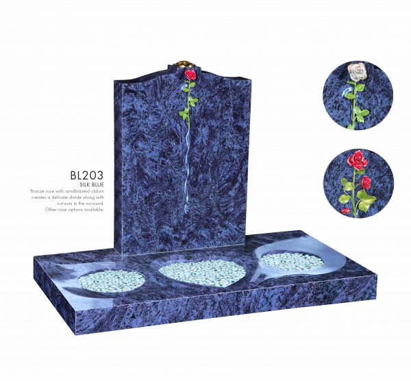 BELLE LAPIDI - Rose & ribbon divide memorial with surround - BL203
