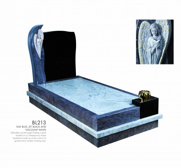 BELLE LAPIDI - Carved angel holding dove kerb set memorial - BL213