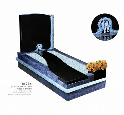 BELLE LAPIDI - Couple with waterfall kerb set memorial - BL214