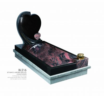 BELLE LAPIDI - Double heart kerb set memorial - BL216