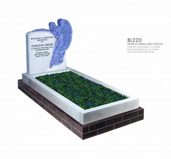 BELLE LAPIDI - Carved angel kerb set memorial - BL220